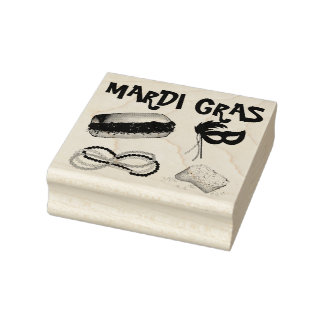 New Orleans Mardi Gras Mask Beads Beignet NOLA Rubber Stamp