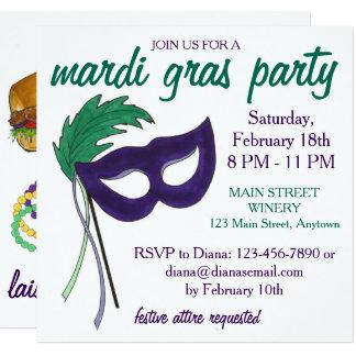 New Orleans Mardi Gras Masquerade Party Invitation
