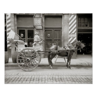 New Orleans Milk Cart, 1910. Vintage Photo Poster