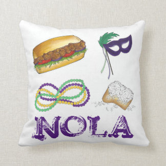 New Orleans NOLA Mardi Gras Beads Food Mask Pillow