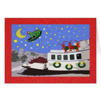 New Orleans River Boat Crawfish Alligator Greeting Card