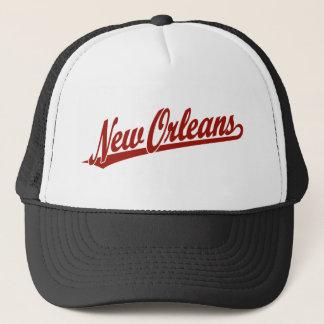 New Orleans script logo in red Trucker Hat