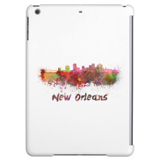 New Orleans skyline in watercolor