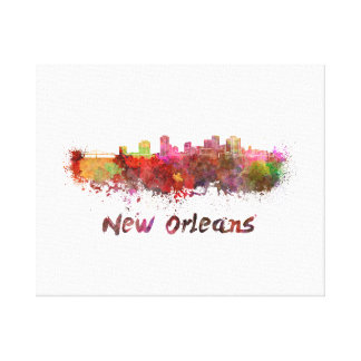 New Orleans skyline in watercolor Canvas Print
