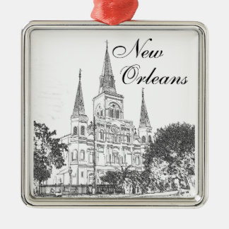 New Orleans St. Louis Cathedral Metal Ornament