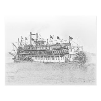 New Orleans Steamboat Black & White Sketch Postcard