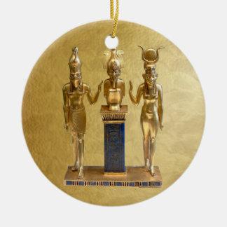 NEW-Osiris, Horus, & Isis - Yule - 5 Round Ceramic Decoration
