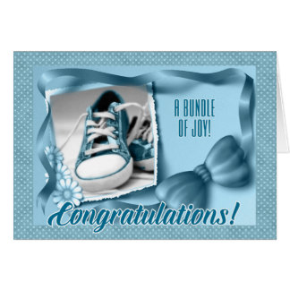 New Parents Congratulations - Blue Birth of a Boy Greeting Card