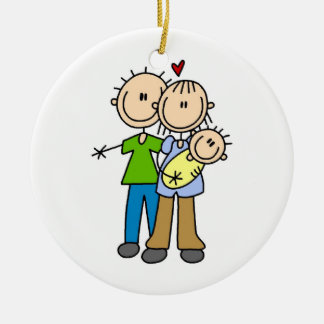 New Parents New Baby T-shirts and Gifts Round Ceramic Decoration