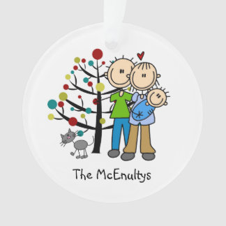 New Parents of a Baby Boy and Cat Ornament