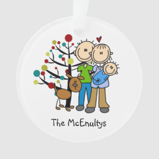 New Parents of a Baby Boy and Dog Ornament