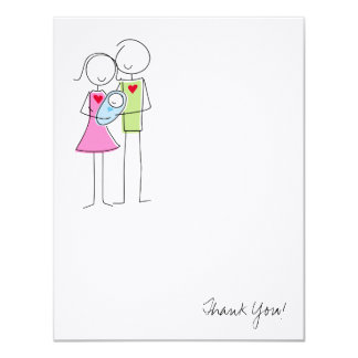 New Parents with Baby Boy - Thank You Card 11 Cm X 14 Cm Invitation Card