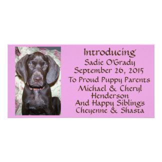 New Pet Adoption Announcement Brown Font on Pink Picture Card