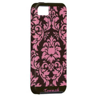 New Pink & Brown Damask Print iPhone Case Cover iPhone 5 Case