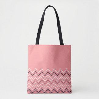 New pink stylish tote bag with Zig zag stripes