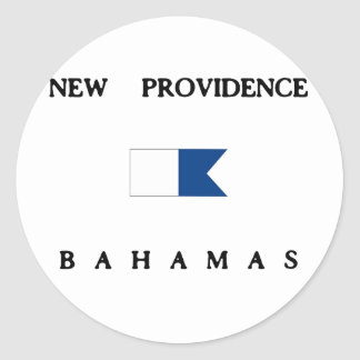 New Providence Bahamas Alpha Dive Flag Round Sticker