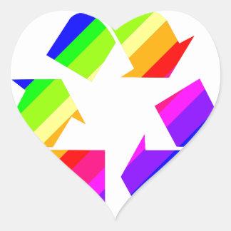 New Rainbow Recycle Heart Sticker