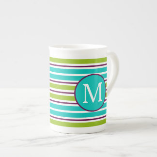 New Retro Blue Green Purple Stripes Monogram Tea Cup