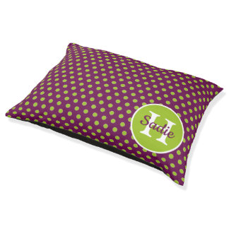 New Retro Purple and Green Polka Dot Monogram Pet Bed