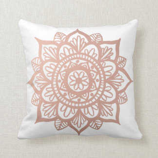 New Rose Gold Mandala Throw Pillow