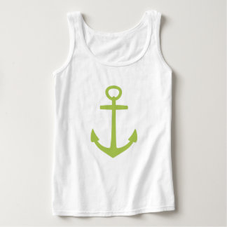 New Sage Green Anchor on White Singlet