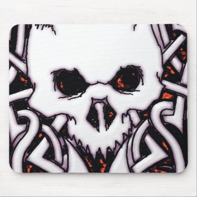 New School Celtic Tribal Skull Mousepad Angeladesigns