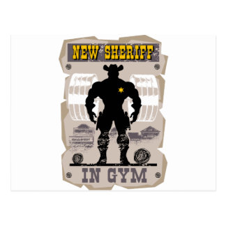 new sheriff in gym postcard