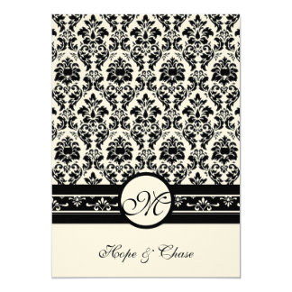 New Sizes Black Damask Swirls Wedding Invitation