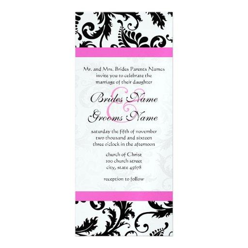New Sizes  Damask Swirls Wedding Invitation