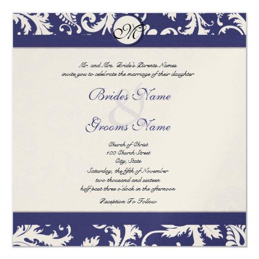 New sizes navy damask swirls wedding invitation 13 cm x 13 for Wedding invitation size in cm