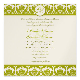 New Sizes Olive Lime Damask Wedding Invitation