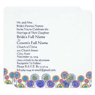 New Sizes Square Fun Flower Wedding Invitation
