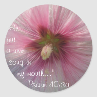 New Song Bible Verse Quote Pink Hollyhock Sticker