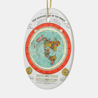 New Standard Map of the World Flat Earth Earther Ceramic Ornament