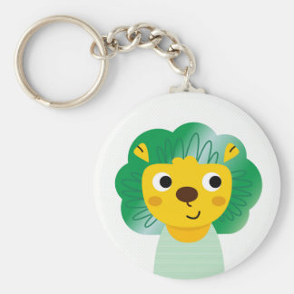 New stylish button : fresh art Lion illustration Basic Round Button Key Ring