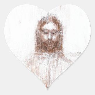 New Turin Shroud (Contemporary Realism Jesus) Heart Sticker