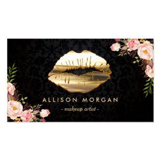 (New Version) 3D Gold Lips Makeup Artist Floral Pack Of Standard Business Cards