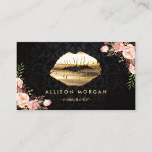 Makeup artist business cards zazzle au new version gold lips makeup artist floral business card reheart Image collections