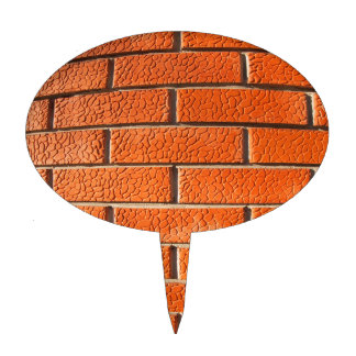New wall of decorative red bricks close up cake picks