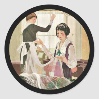 New Washing Machine Mother and Daughter Classic Round Sticker