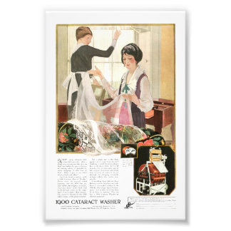 New Washing Machine Mother and Daughter Photo Print