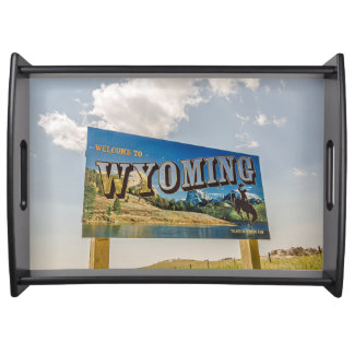New Welcome to Wyoming Sign - State Borders Serving Tray