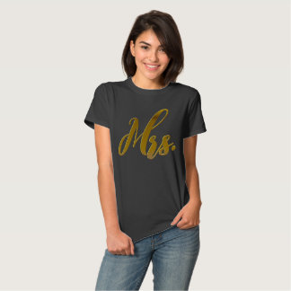 New Wife New Bride Mrs. Metallic Gold Foil Text Tee Shirts