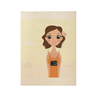 New wooden Poster in shop : Travel vintage lady
