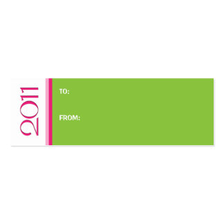 New Year 2011 pink green Gift Tag Business Card