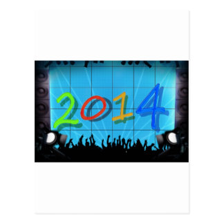 New Year 2014 Office City Party Colorful Fun Art Postcard