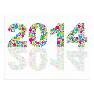 New Year 2014 Outline with Colorful Polka Postcard