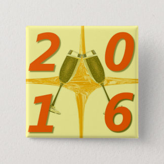 New Year 2016 Toast 15 Cm Square Badge