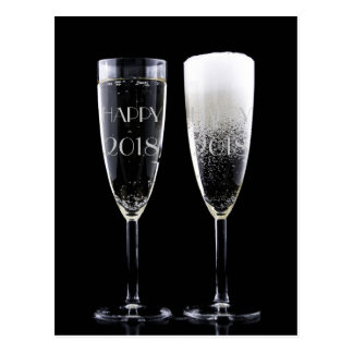 New Year 2018 Black White Champagne Flute Glasses Postcard
