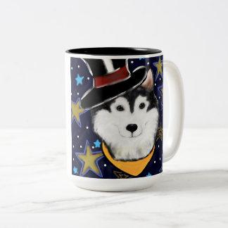 New Year Alaskan Malamute Two-Tone Coffee Mug